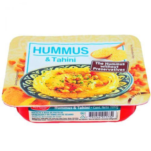 hummus red spoon
